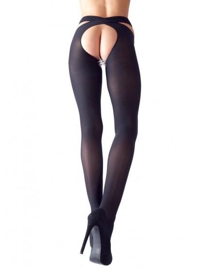Neprůhledné punčochové kalhoty s otevřeným rozkrokem - Cottelli Collection