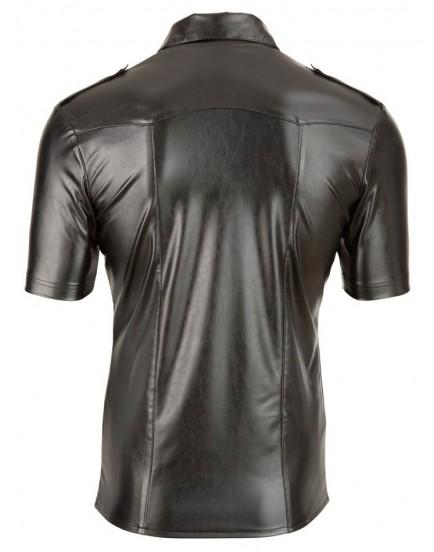Lesklá pánská košile s límečkem v imitaci kůže - Svenjoyment
