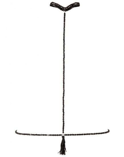 Černý perlový obojek s bikini řetízkem - Cottelli Collection