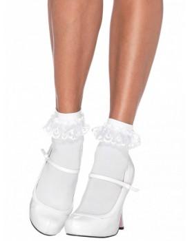 Bílé kotníkové ponožky s volánky z krajky - Leg Avenue