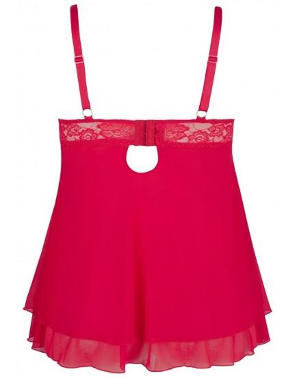 Průsvitný červený babydoll s krajkou a průstřihy na prsou - Cottelli Collection