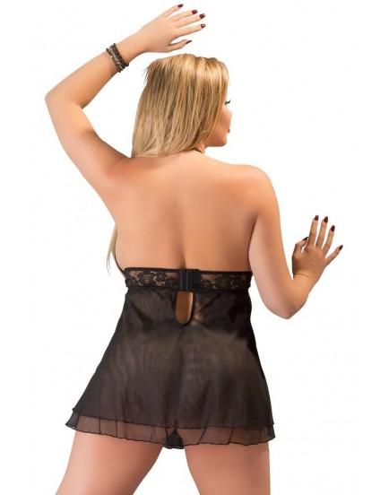 Průsvitný černý babydoll s krajkou a průstřihy na prsou - Cottelli Collection