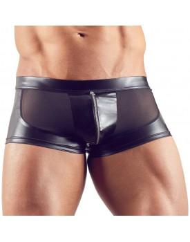 Wetlook boxerky se zipem a průsvitnými vsadkami - Svenjoyment
