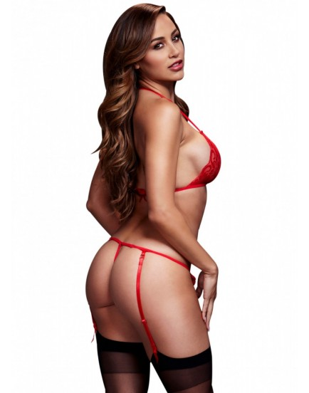 Červený krajkový set spodního prádla Baci - podprsenka a kalhotky s otvorem v rozkroku