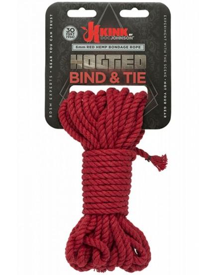 Červené konopné lano Hogtied Bind & Tie 30 ft - 9 m