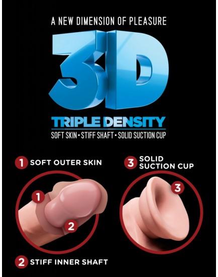 """Realistické dildo s varlaty a přísavkou Triple Density 8"""" - King Cock"""