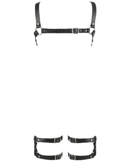 Kožený řemínkový postroj s popruhy na stehna - ZADO