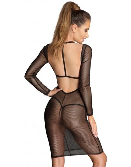 Průsvitné šaty se sametovými černými pásky - NOIR