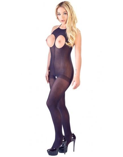 Síťovaný catsuit s otvory pro prsa a v rozkroku a zavazováním za krkem NO:XQSE