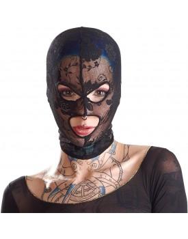 Krajková maska na hlavu s otvory na oči a ústa Bad Kitty