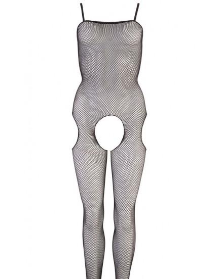 Síťovaný catsuit s otvorem v rozkroku a tenkými ramínky NO:XQSE