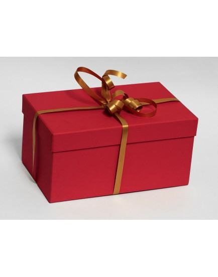 Dárková krabice mini - rudá (8,5 x 8,5 x 7 cm) + stuha