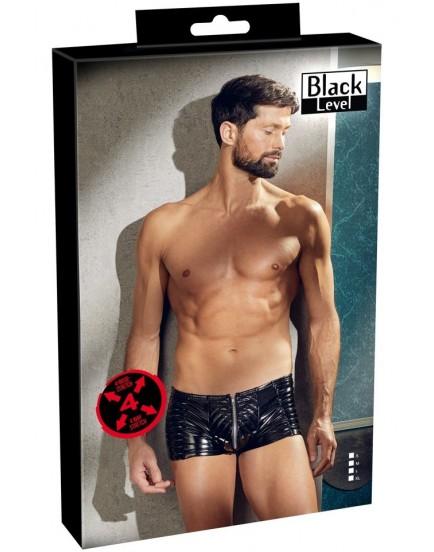 Lakované boxerky se zipem a prošíváním (Black Level)