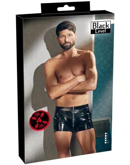 Lakované pánské šortky se zipem a kapsami (Black Level)