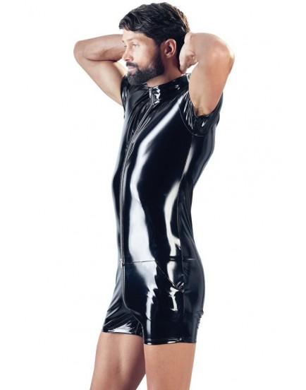 Lakovaný pánský overal s krátkými rukávy a nohavicemi (Black Level)