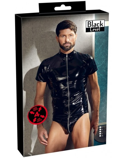 Lakované pánské tričko se zipem a krátkými rukávy (Black Level)