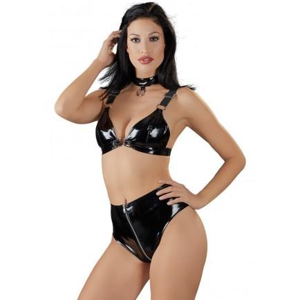 Lakovaná souprava spodního prádla pro ženy (Black Level)