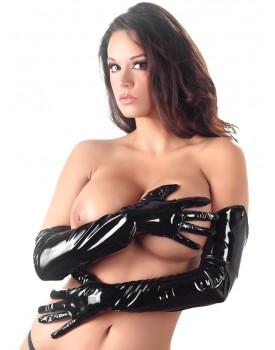 Dlouhé lakované rukavice Black Level (černé)